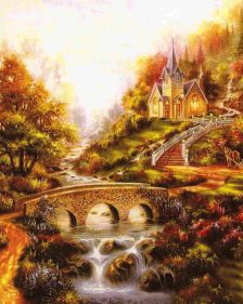 schema punto croce paesaggio con ponte e chiesetta