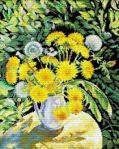 schema punto croce- vaso con fiori di tarassaco gialli