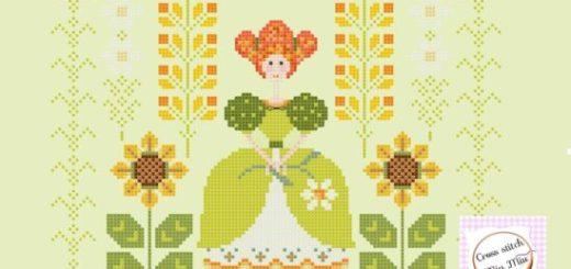 schema punto croce flora verde