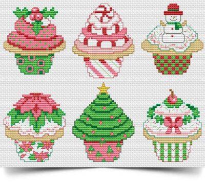 Christmas Cupcake-cross stitch pattern