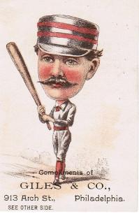 Sample baseball advertising trade card from Set H 804-28