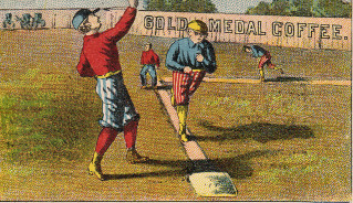 Sample baseball advertising trade card from Set H 804-33