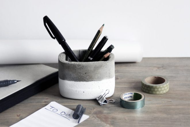 schereleimpapier DIY und Upcycling Blog aus Berlin - kreative Tutorials für Geschenke, Möbel und Deko zum Basteln – Beton Stiftebox basteln