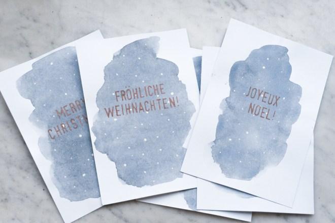 schereleimpapier DIY und Upcycling Blog aus Berlin - kreative Tutorials für Geschenke, Möbel und Deko zum Basteln - Aquarell Weihnachtskarten basteln