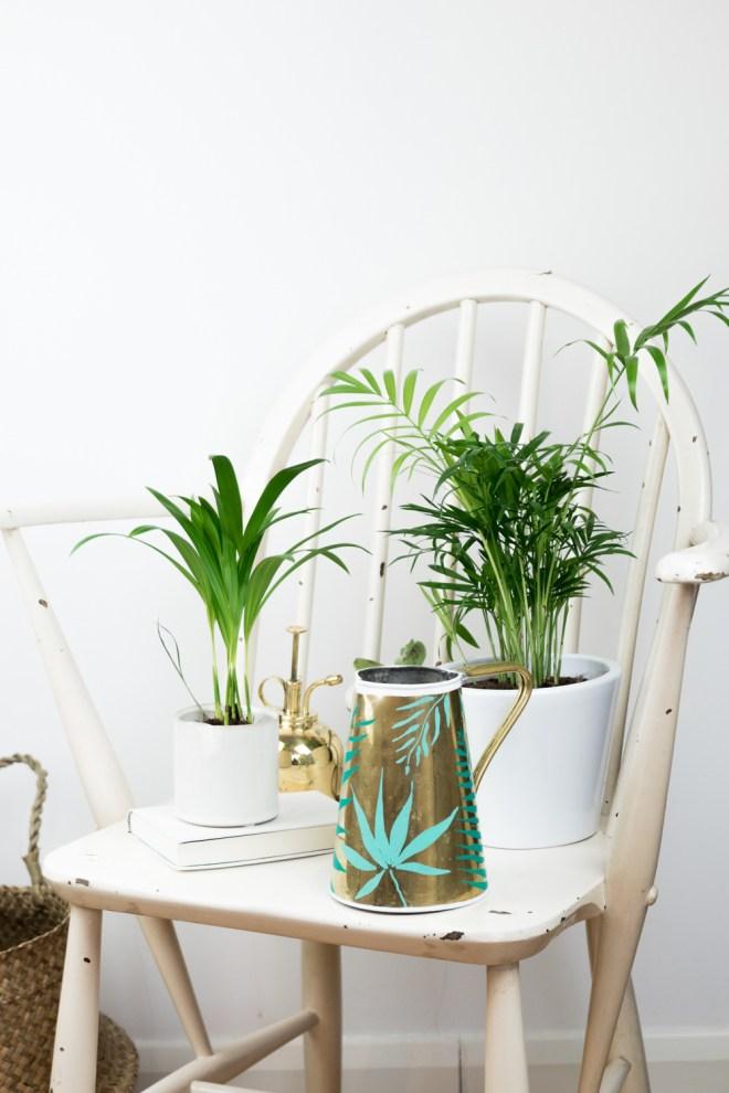 Upcycling DIY Kanne Messing tropical - - schereleimpapier DIY und Upcycling Blog aus Berlin - kreative Tutorials für Geschenke, Möbel und Deko zum Basteln