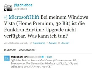Tweet von @schiebde an @MicrosoftHilft: Bei meinem Windows Vista (Home Premium, 32 Bit) ist die Funktion Anytime Upgrade nicht verfügbar. Was kann ich tun?