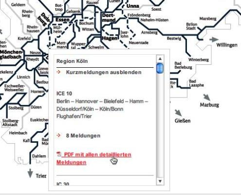 Karte von Bahnstrecken in Nordrhein-Westfalen mit Liste geplanter Bauarbeiten in der Nähe von Düsseldorf