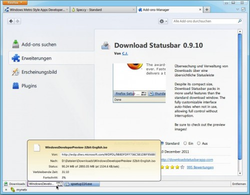 Download Statusbar in Firefox