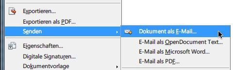 OpenOffice: Dokument per E-Mail senden