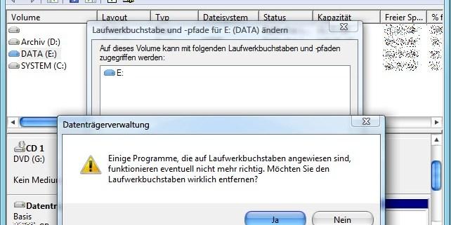 Datenträgerverwaltung: Laufwerkbuchstaben entfernen
