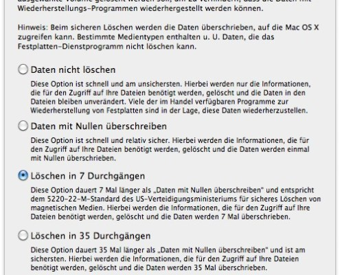 Mac OS X: Festplatten-Dienstprogramm, Sicherheitsoptionen
