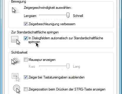 Windows: Mauszeiger auf Standard-Schaltfläche setzen