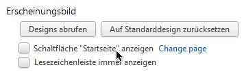 Chrome: Einstellungen für den Startseiten-Knopf