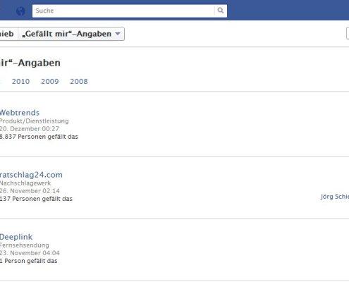 Facebook: Gefällt mir-Angaben
