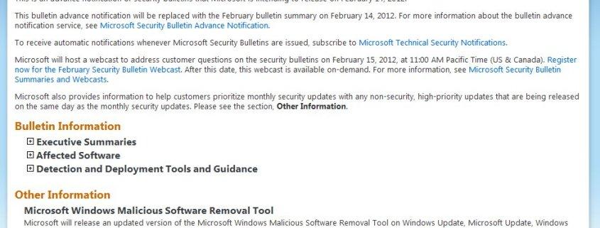 Microsoft Security Bulletin Advance Notification Feb 2012