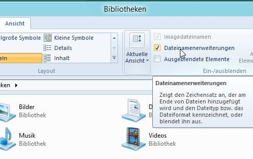 Windows 8: Dateinamenerweiterungen im Windows-Explorer anzeigen