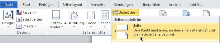 Word 2010: Seitenumbruch einfügen