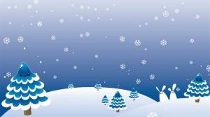 Blau gezeichneter Himmel mit Bäumen, die Augen haben und Schneehasen, umgeben von fallenden Schneeflocken