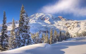 Berggipfelgrat, in Schnee gehüllt, davor unberührte Nadelbäume und reinweißer Schnee vor einem nebelwolkig-blauen Himmel
