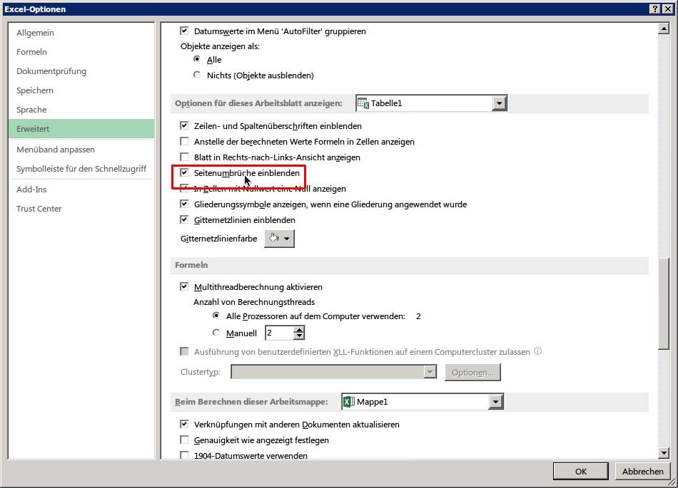 Excel-Arbeits-Mappen: Druck-Seiten-Ränder anzeigen | schieb.de