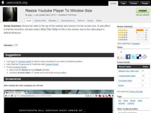 Video-Player von YouTube automatisch so groß wie möglich