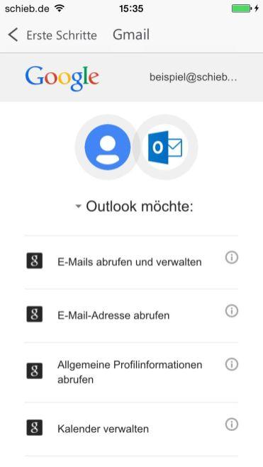 Zugriff auf Gmail erlauben