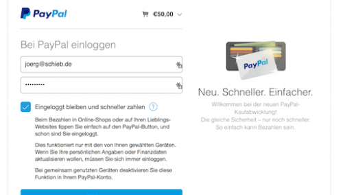 Paypal One Touch Aktivieren
