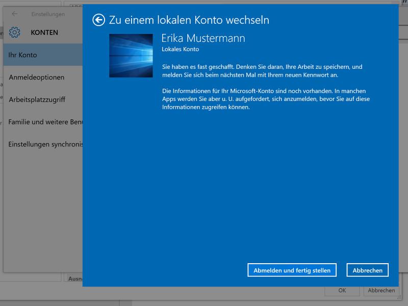 Windows 10: Vom Microsoft-Konto zu einem lokalen Konto