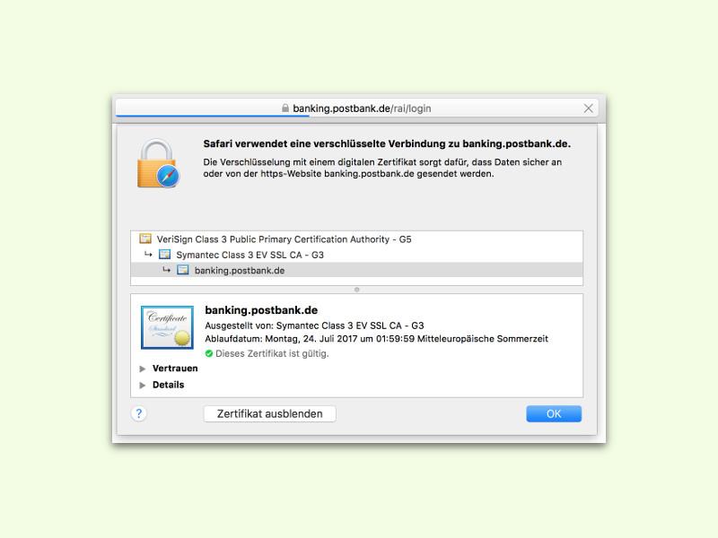 Safari: Details zu verschlüsselten Verbindungen anzeigen | schieb.de
