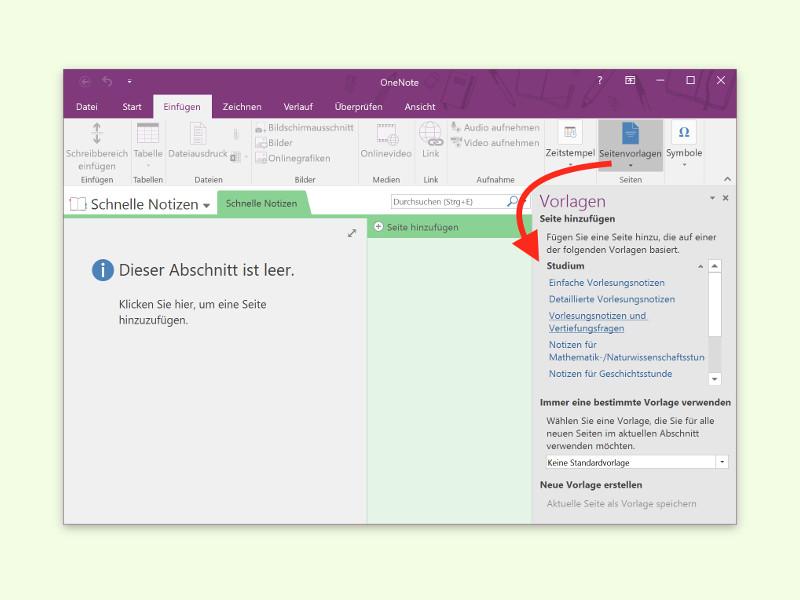 OneNote-Vorlagen für Notiz-Seiten einfügen | schieb.de
