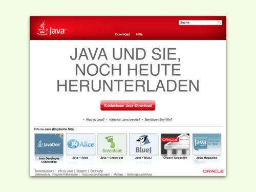 Haken-up-Download für Java