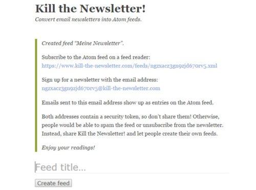 Kill The Newsletter Nachrichten Als Rss Feed Schiebde