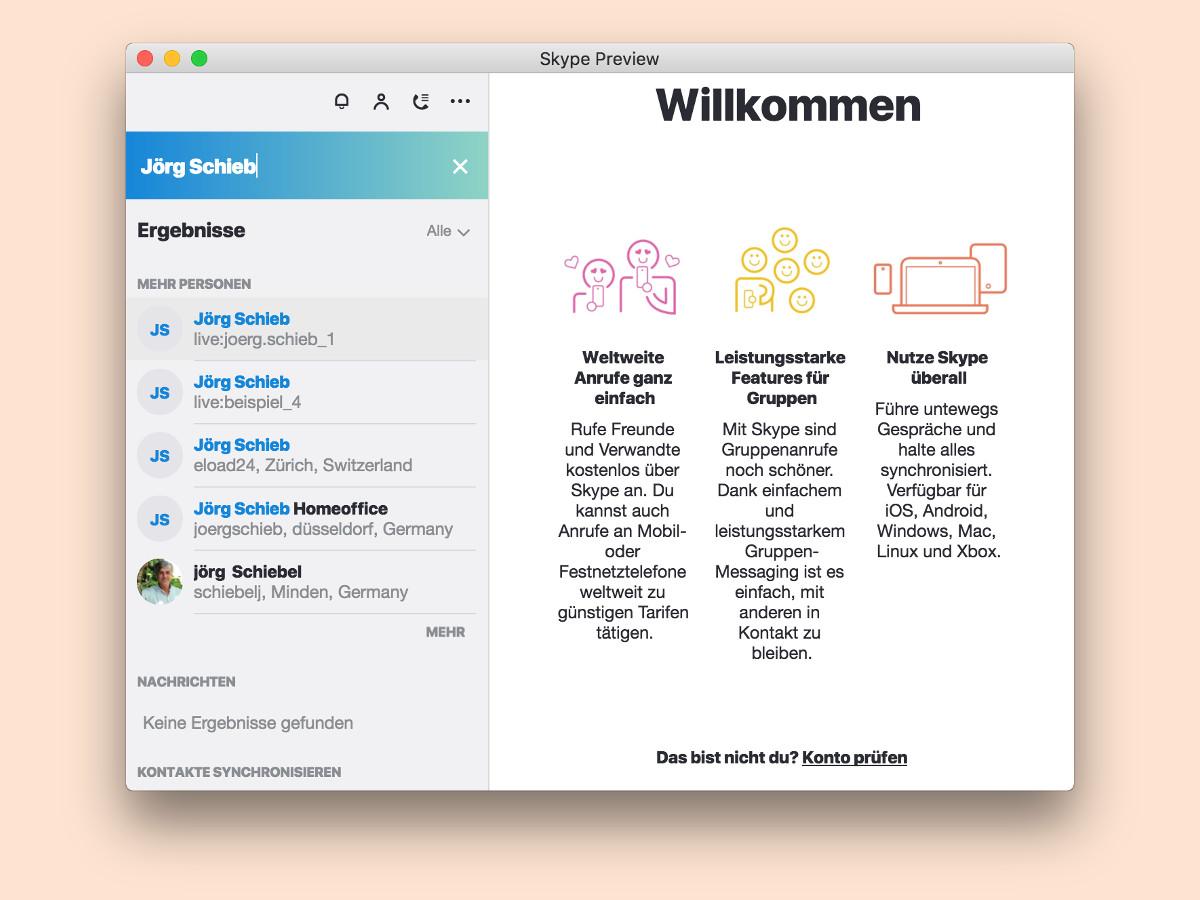 Kontakte in der neuen Skype-App suchen - schieb.de