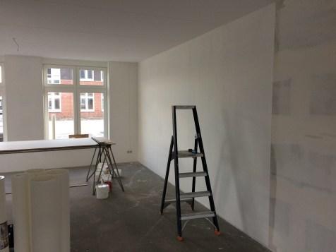 Aanbrengen en afwerken renovlies behang in een nieuwbouwwoning te Doornspijk