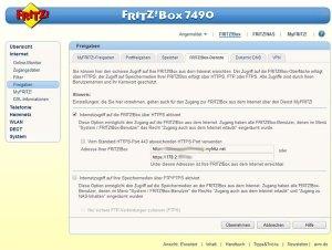 Einrichtungsoberfläche für My!Fritz in der Fritz!Box