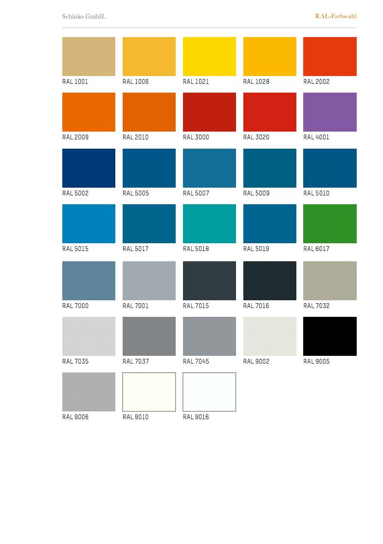 Schinko RAL-Farbwahl - Übersicht der Schinko RAL-Farbwahl Tabelle.