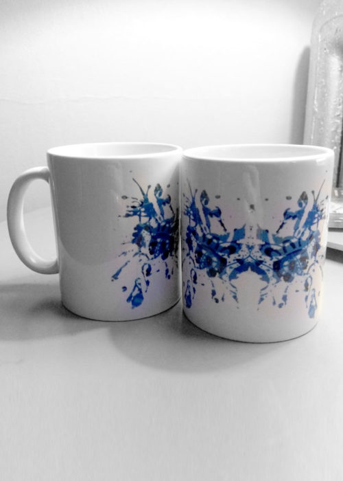 Blue rorschach test ink blot mugs
