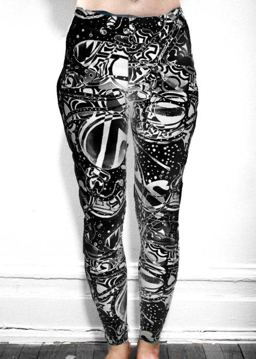 """Michelle's """"bleach"""" black & white dark print leggings"""