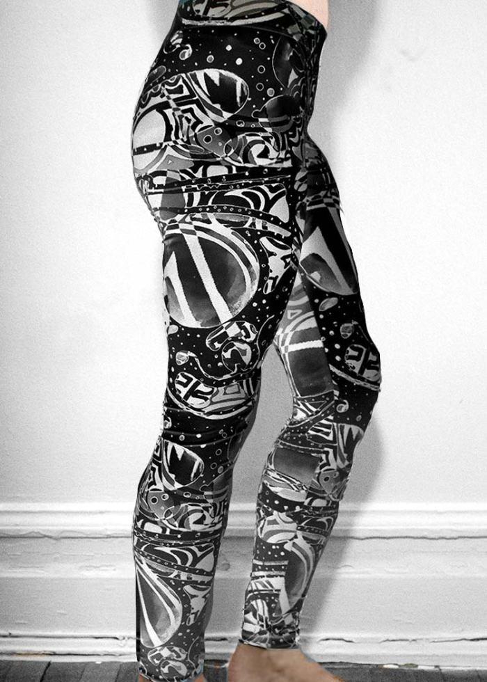 """Michelle's """"Bleach"""" Black & White Dark Print Leggings 2"""