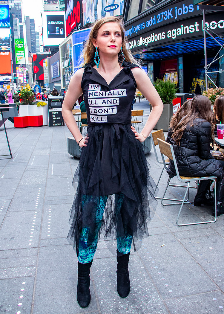 I'm mentally ill and i don't kill t-shirt by schizophrenic. Nyc. Worn by cecilia mcgough of students with psychosis.