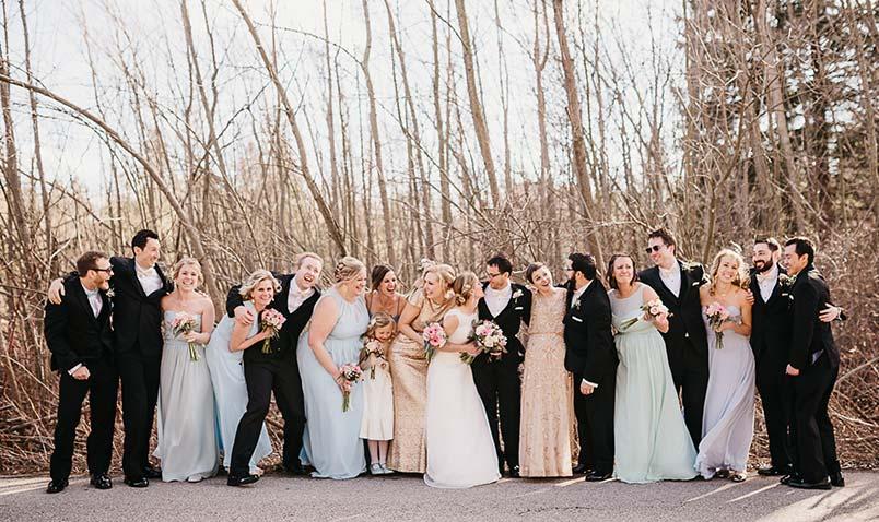 Winter Wedding Schlitz Audubon Bridal Party