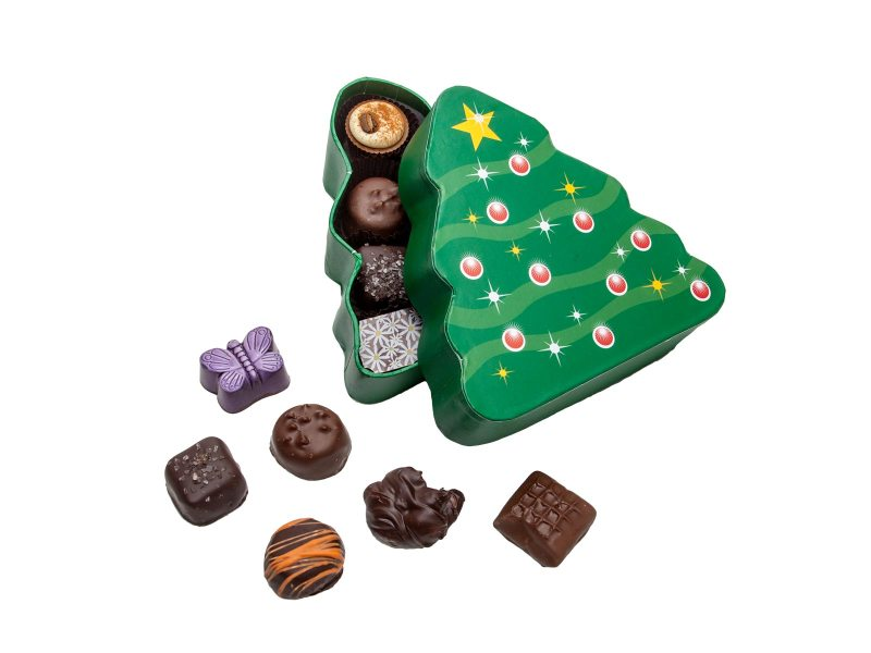10 Piece Assorted Chocolate Christmas Tree Box