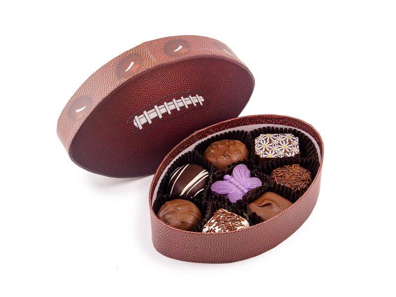 football chocolate box