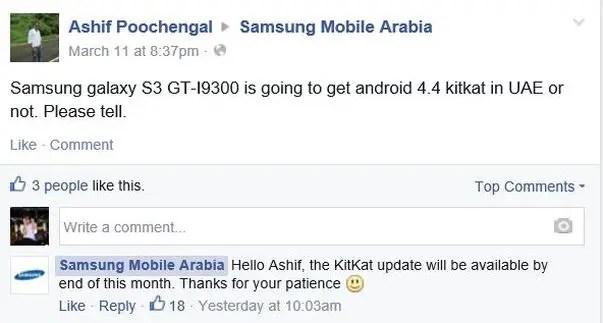 Samsung, Galaxy S3, Android 4.4 KitKat