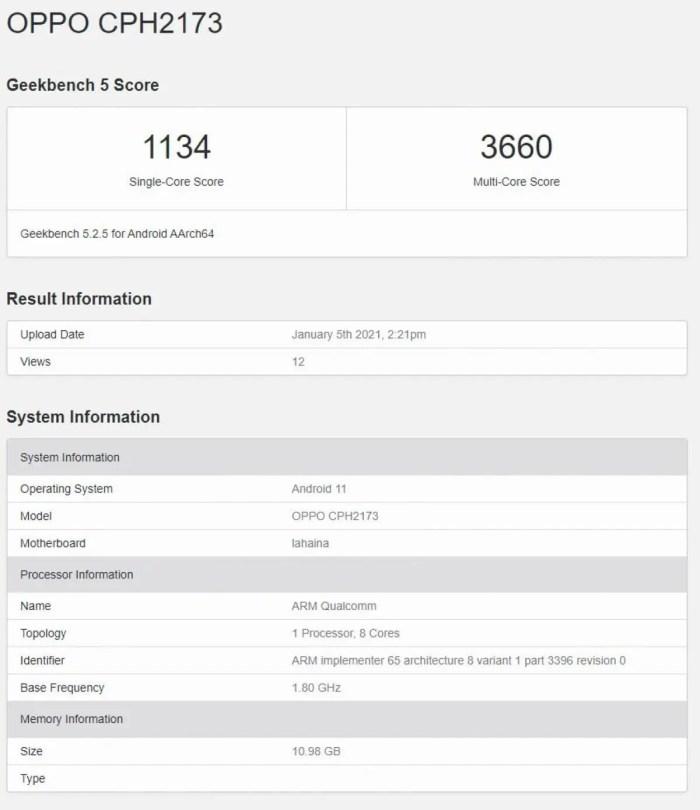 OPPO Find X3 CPH2173 Geekbench