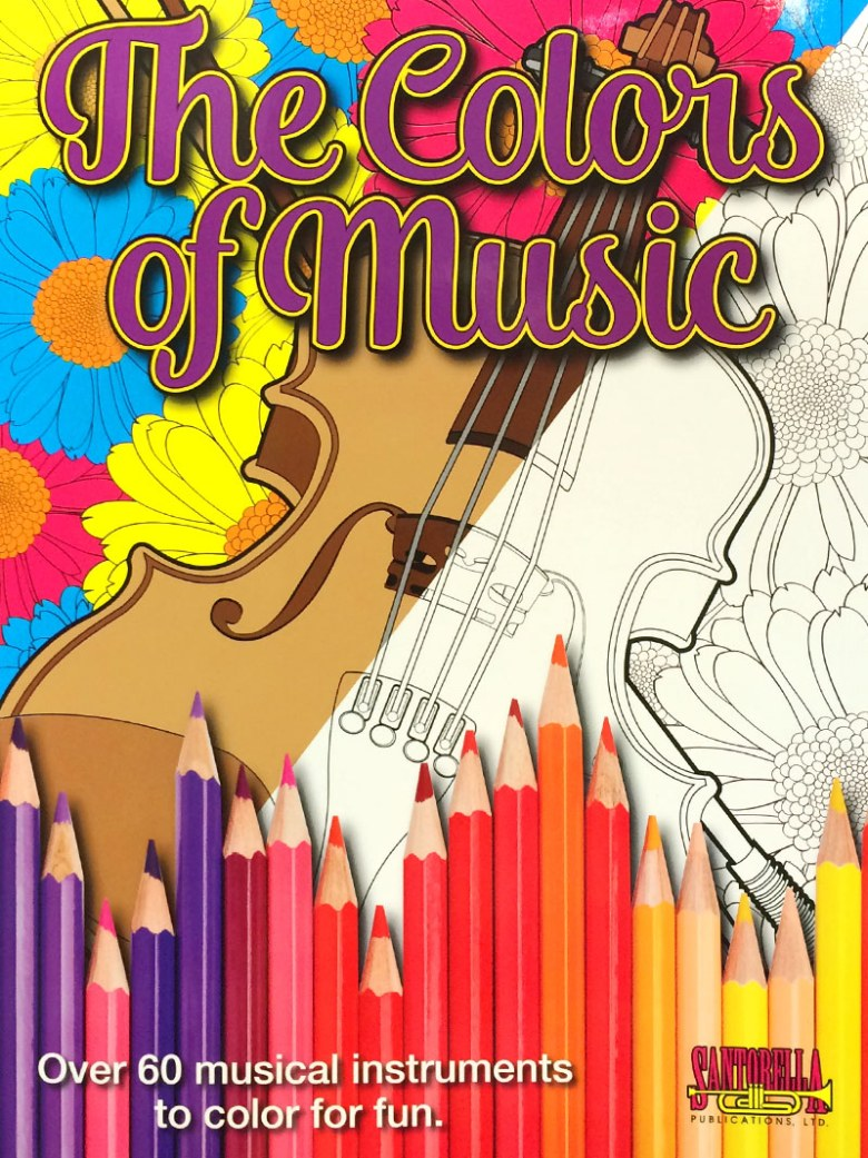 the colors of music - musical instrument coloring book