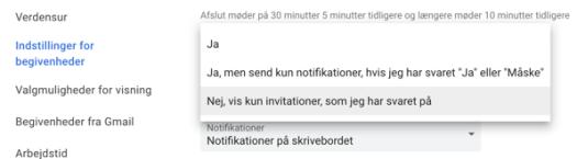 Gmail kalender indstillinger