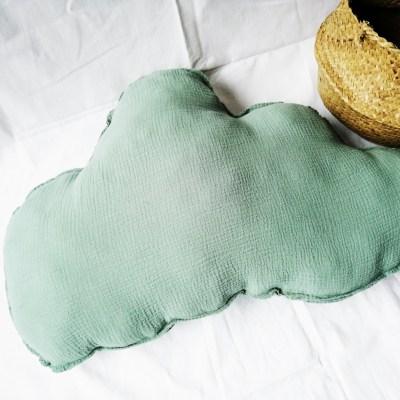 Wolkenkissen Musselin Altgrün