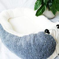 Baby-Cocoon ecru / dunkelgrau