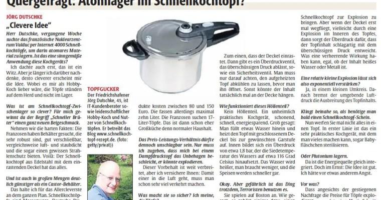 """Atomlager im Schnellkochtopf: Interview mit der """"Rheinpfalz am Sonntag"""""""
